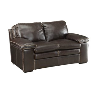 Coaster Regalvale Leather Loveseat in Two Tone Brown