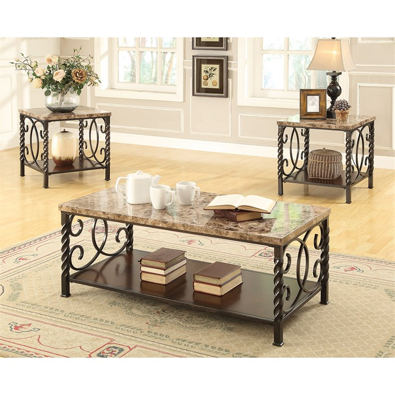 Coaster 3 Piece Coffee Table Set In Dark Brown 701695