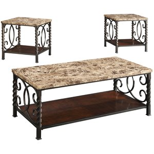 Coaster 3 Piece Coffee Table Set in Dark Brown