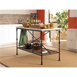 Coaster Faux Marble Top Kitchen Island in Black
