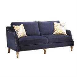 Coaster Vessot Upholstered Sofa in Blue