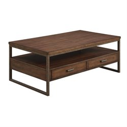 Coaster 2 Drawer Coffee Table in Light Brown