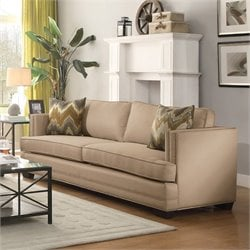 Coaster Rosario Upholstered Sofa in Ecru