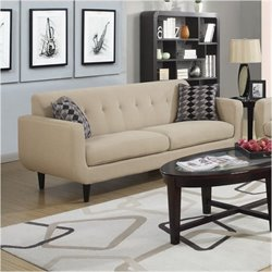 Coaster Stansall Upholstered Modern Sofa in Ivory
