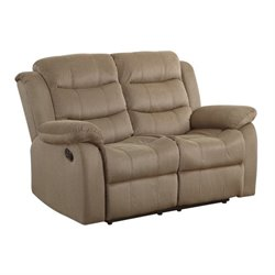 Coaster Rodman Motion Loveseat in Tan