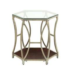 Coaster Glass Top Metal End Table in Champagne