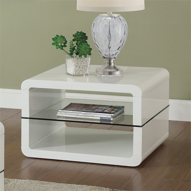 Coaster 2 Shelf End Table in Glossy White