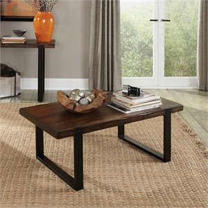 Coaster Two Tone Coffee Table in Vintage Brown and Black