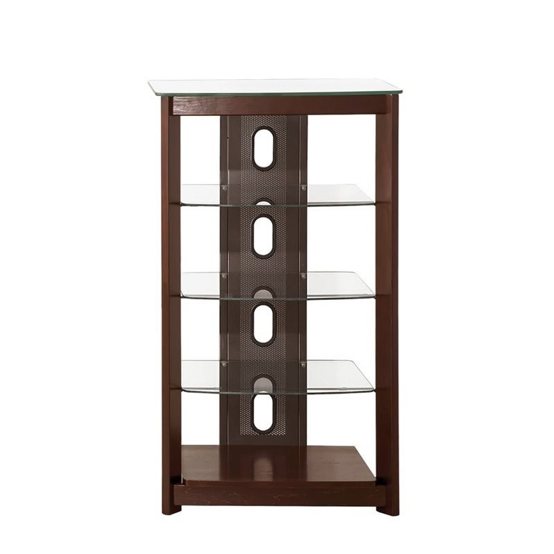 coaster 5 shelf audio rack in coffee 700322. Black Bedroom Furniture Sets. Home Design Ideas