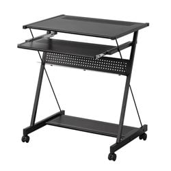 Coaster Computer Desk with Keyboard Drawer and Casters in Black