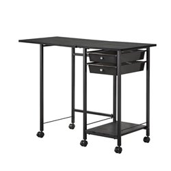 Coaster 2 Drawer Folding Desk with Casters in Black