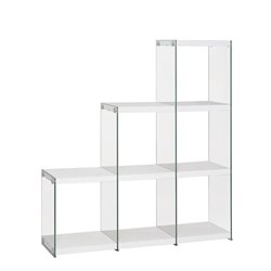 Coaster Glass Side Bookcase in White