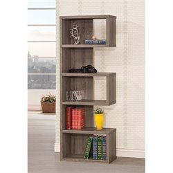Coaster Semi Backless Bookcase in Dark Gray