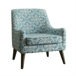 Coaster Upholstered Accent Chair in Blue and White