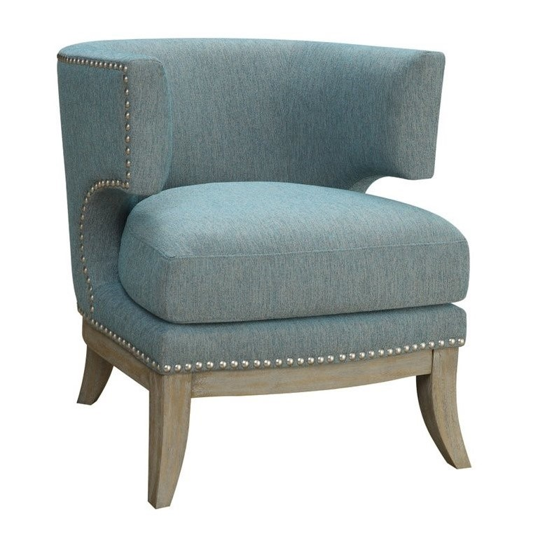 Charming Coaster Barrel Back Upholstered Accent Chair In Blue