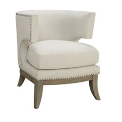 Coaster Barrel Back Upholstered Accent Chair in White