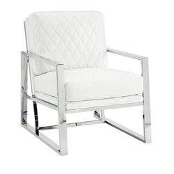 Coaster Faux Leather Accent Chair in White