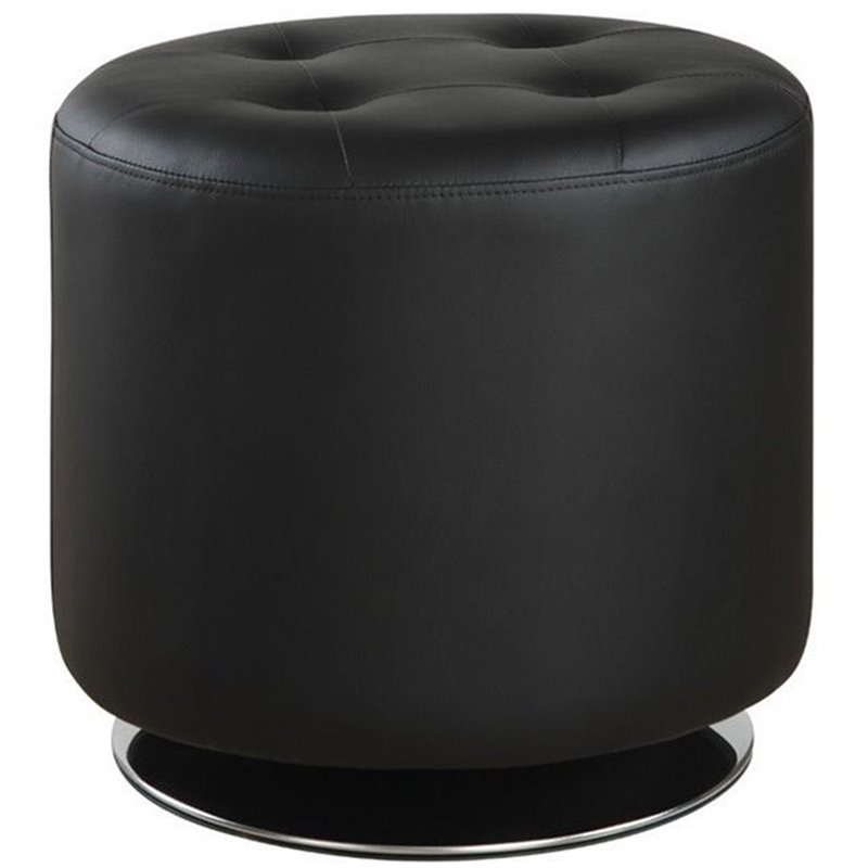 Coaster Tufted Faux Leather Round Ottoman in Black and Chrome