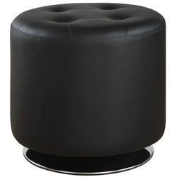 Coaster Round Swivel Ottoman in Black