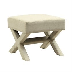 Coaster Upholstered X Shaped Base Ottoman in Beige