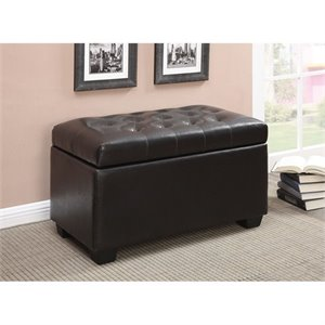 Coaster Tufted Storage Bench in Chocolate