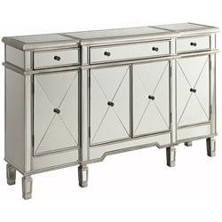 Coaster Mirror Sideboard with Wine Rack in Silver