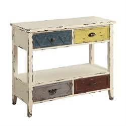 Coaster 4 Drawer Console Table in Antique White