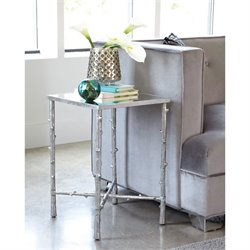 Coaster Glass Top End Table in Silver