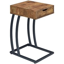 Coaster 1 Drawer End Table with Outlets in Antique Nutmeg