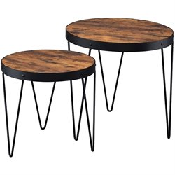 Coaster 2 Piece Round Nesting Tables in Honey Cherry