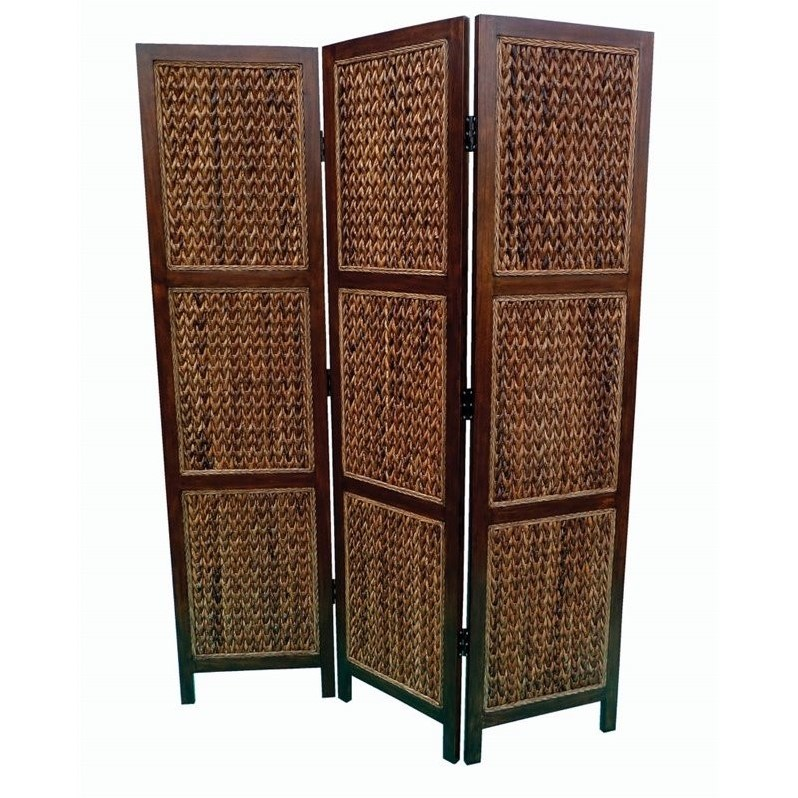 Coaster 3 Panel Woven Banana Leaf Folding Screen in Natural and Honey