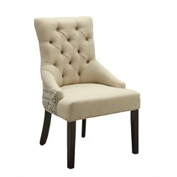 Coaster Tufted Accent Chair in Beige and Espresso
