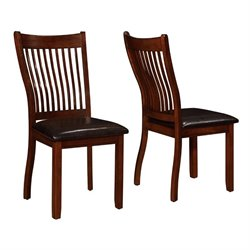 Coaster Sierra Bent Slat Dining Chair in Cherry Brown and Black