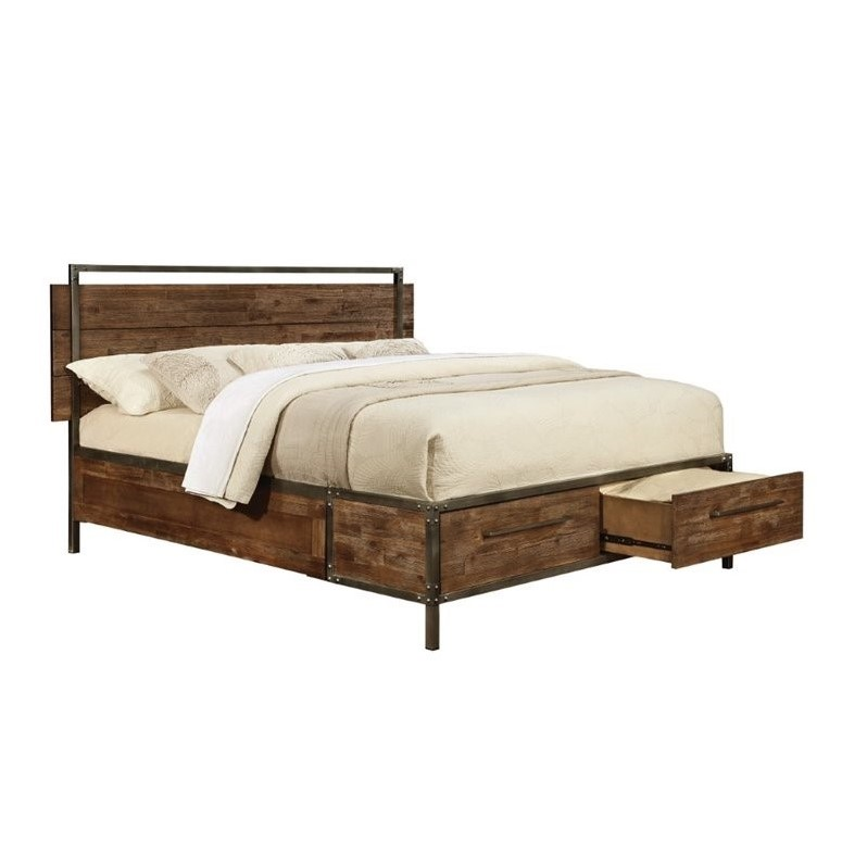 Coaster arcadia queen platform bed with drawers in for Bedroom furniture bed with drawers