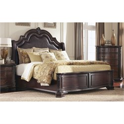 Coaster Maddison Queen Bed with Upholstered Headboard in Brown Cherry