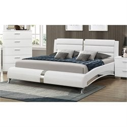 Coaster Felicity Queen Faux Leather Bed in White