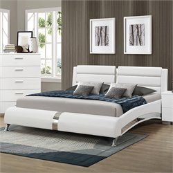 Coaster Felicity King Faux Leather Bed in White