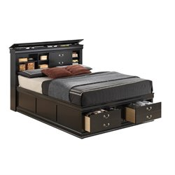 Coaster Louis Philippe Queen Bookcase Bed in Black