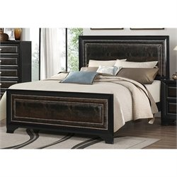 Coaster Delano Queen Faux Leather Bed in Black