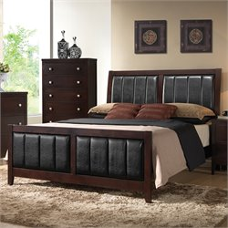 Coaster Carlton Queen Upholstered Panel Bed in Cappuccino