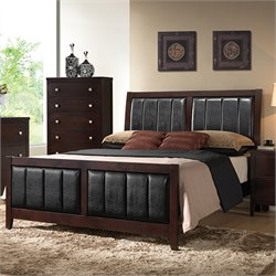 Coaster Carlton King Upholstered Panel Bed in Cappuccino