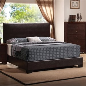 Coaster Conner Upholstered Platform Bed in Cappuccino