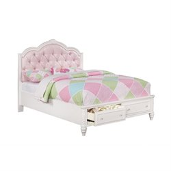 Coaster Caroline Twin Tufted Bed with Drawers in White