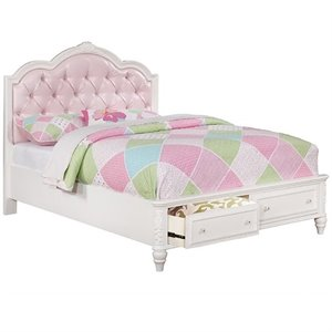 Coaster Caroline Tufted Bed with Drawers in White