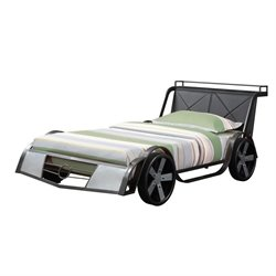 Coaster Novelty Race Car Twin Bed in Gunmetal and Silver Gray