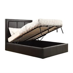 Coaster Queen Upholstered Storage Bed in Black