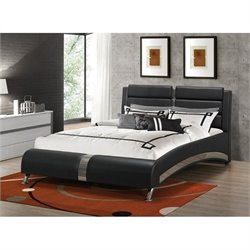 Coaster Jeremaine Queen Upholstered Modern Bed in Black