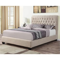 Coaster Chloe Upholstered Queen Bed in Oatmeal