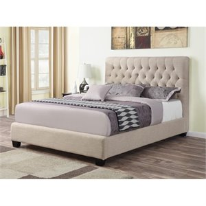 Coaster Chloe Upholstered Twin Bed in Oatmeal