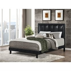 Coaster Granados Faux Leather Queen Bed in Black